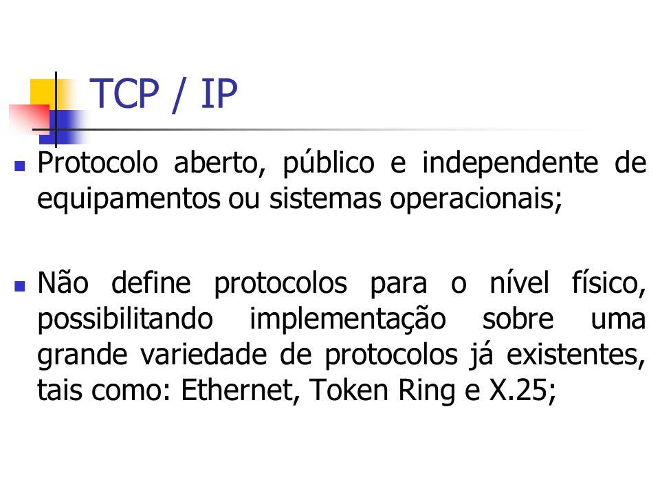 TCP / IP Protocolo aberto, público e independente de equipamentos ou sistemas operacionais;