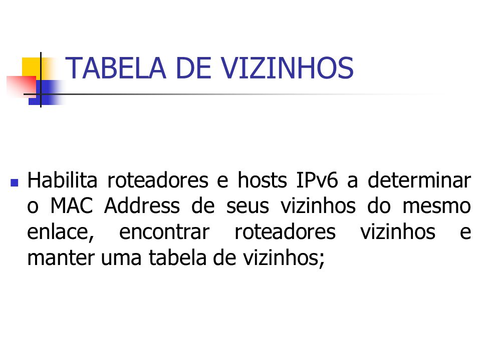 TABELA DE VIZINHOS