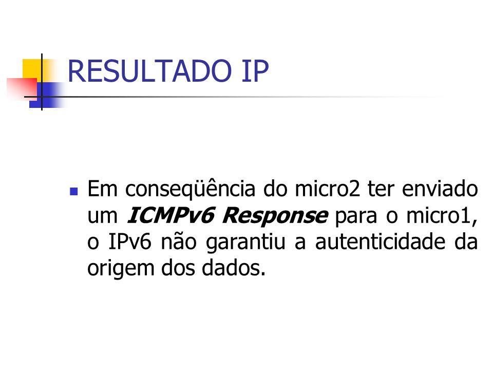 RESULTADO IP Em conseqüência do micro2 ter enviado um ICMPv6 Response para o micro1, o IPv6 não garantiu a autenticidade da origem dos dados.