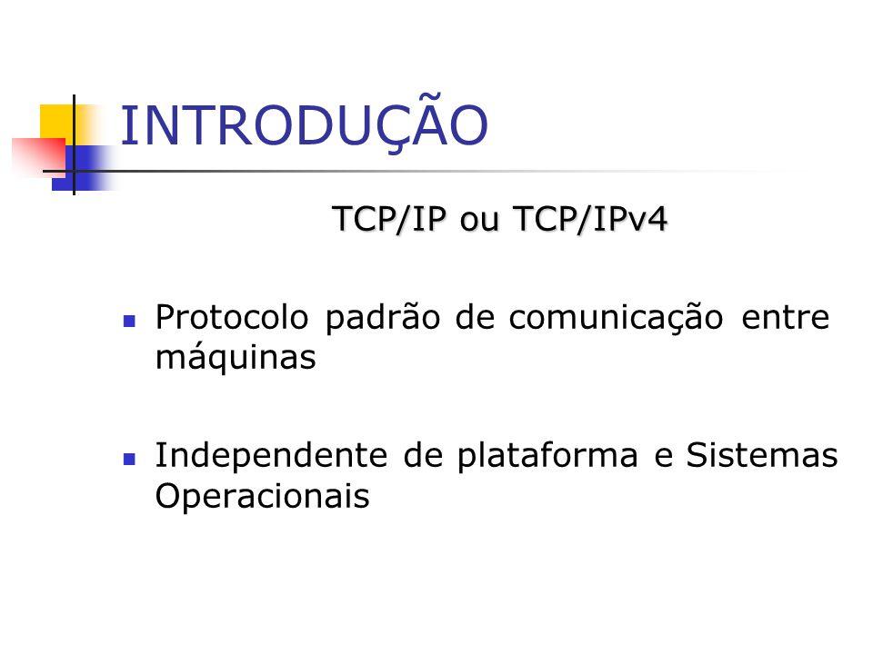 INTRODUÇÃO TCP/IP ou TCP/IPv4