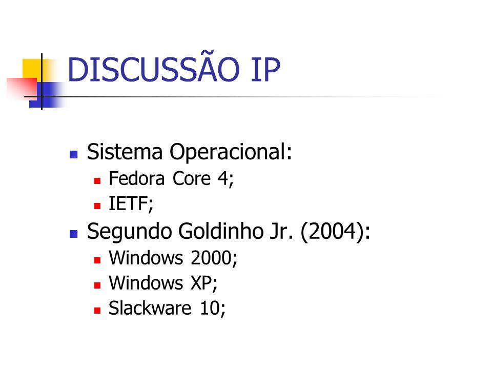 DISCUSSÃO IP Sistema Operacional: Segundo Goldinho Jr. (2004):