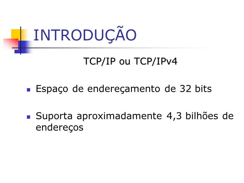 INTRODUÇÃO TCP/IP ou TCP/IPv4 Espaço de endereçamento de 32 bits