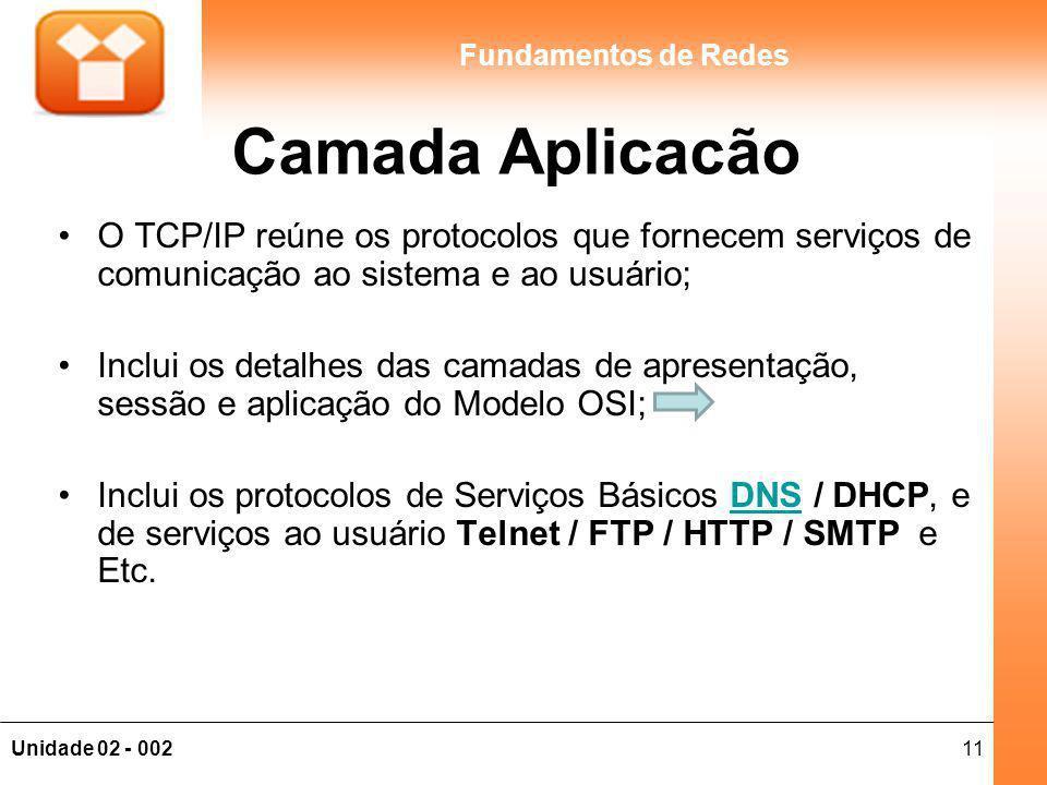 Camada Aplicacão O TCP/IP reúne os protocolos que fornecem serviços de comunicação ao sistema e ao usuário;