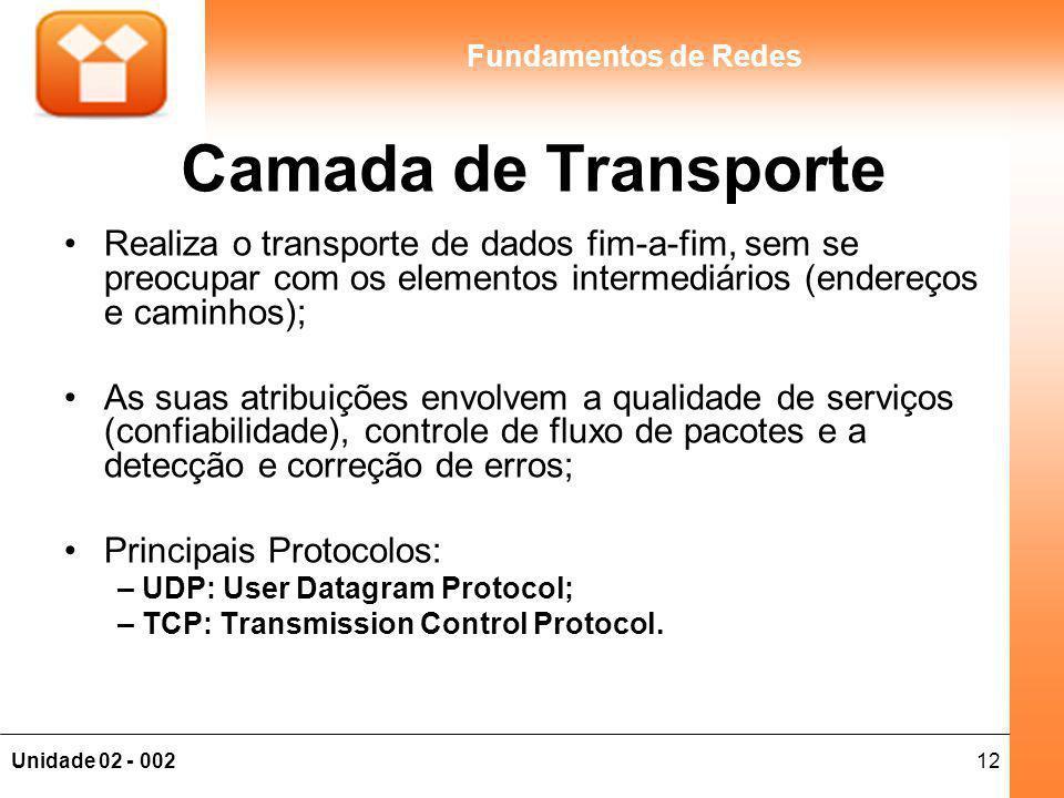 Camada de Transporte Realiza o transporte de dados fim-a-fim, sem se preocupar com os elementos intermediários (endereços e caminhos);