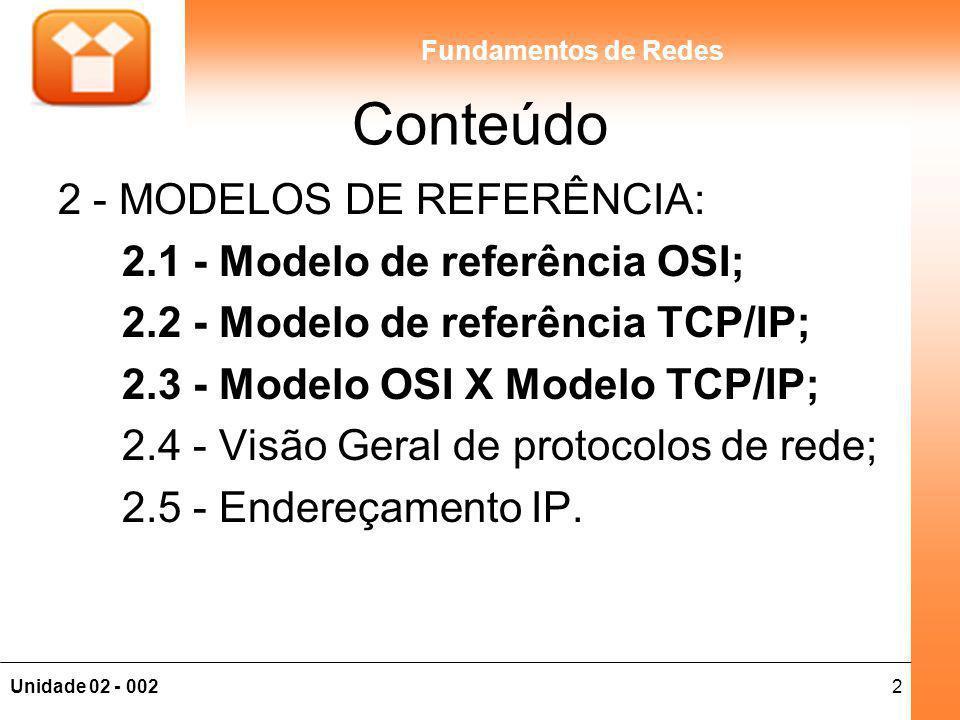 Conteúdo 2 - MODELOS DE REFERÊNCIA: 2.1 - Modelo de referência OSI;