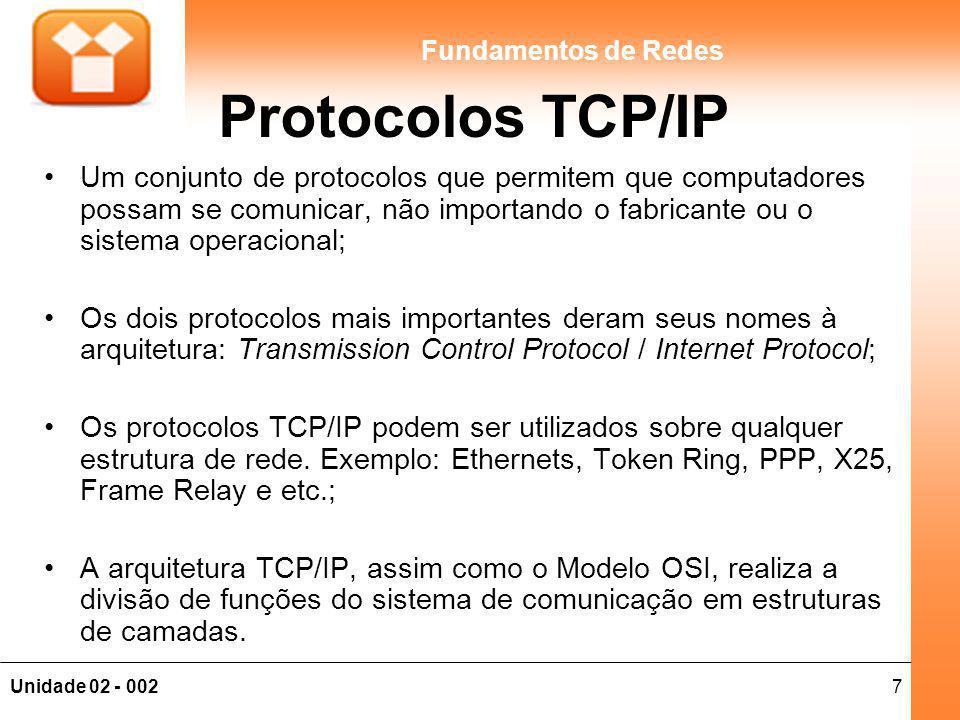 Protocolos TCP/IP Um conjunto de protocolos que permitem que computadores possam se comunicar, não importando o fabricante ou o sistema operacional;