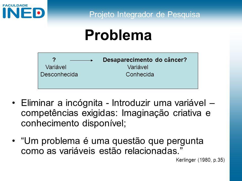 Problema Eliminar a incógnita - Introduzir uma variável – competências exigidas: Imaginação criativa e conhecimento disponível;