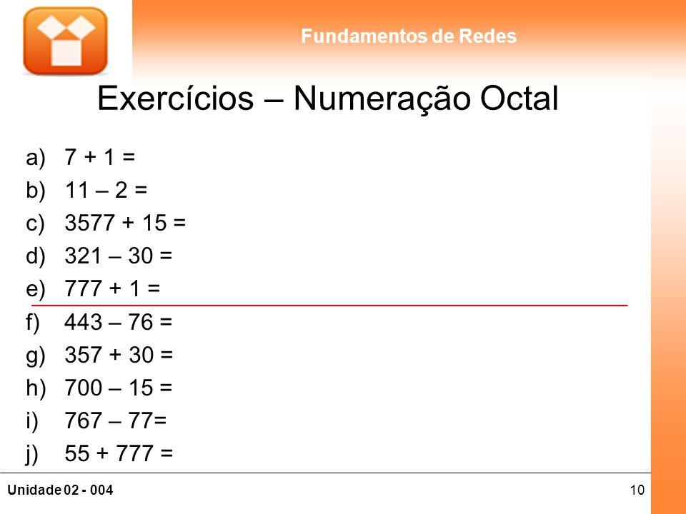 Exercícios – Numeração Octal