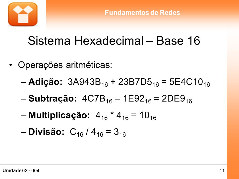Sistema Hexadecimal – Base 16