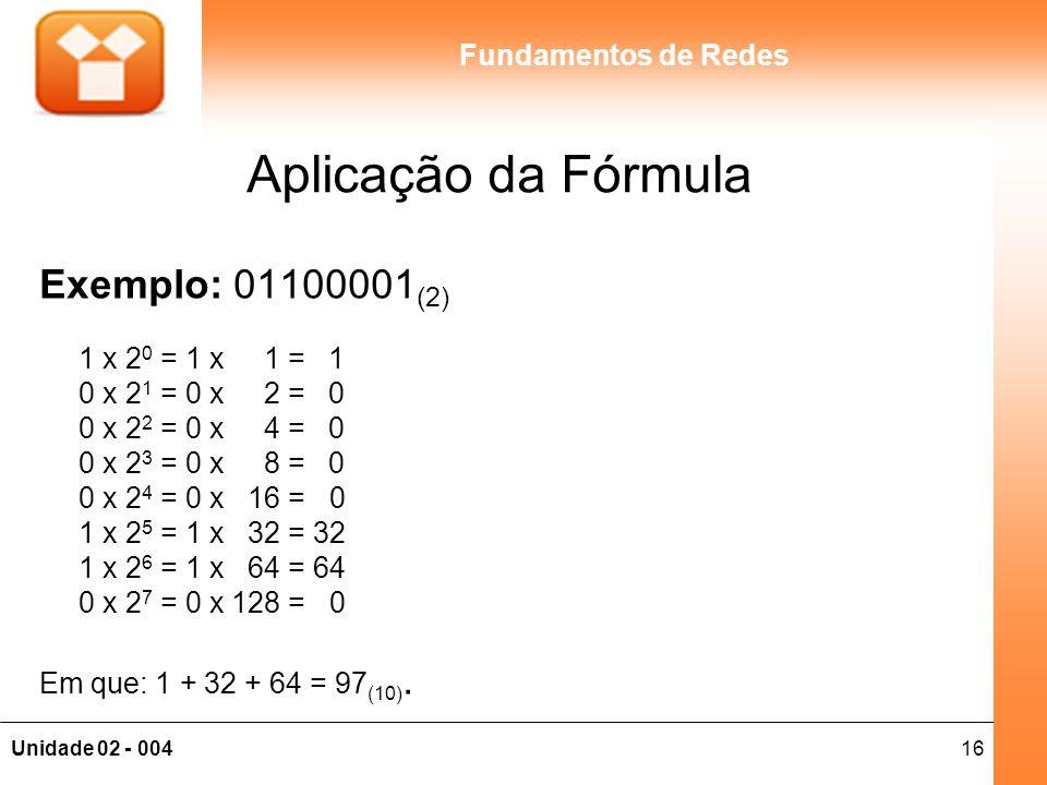 Aplicação da Fórmula