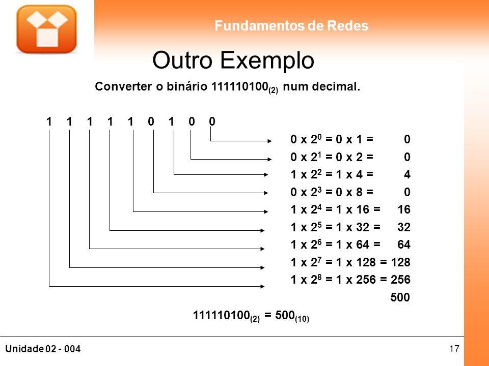 Outro Exemplo Converter o binário 111110100(2) num decimal.
