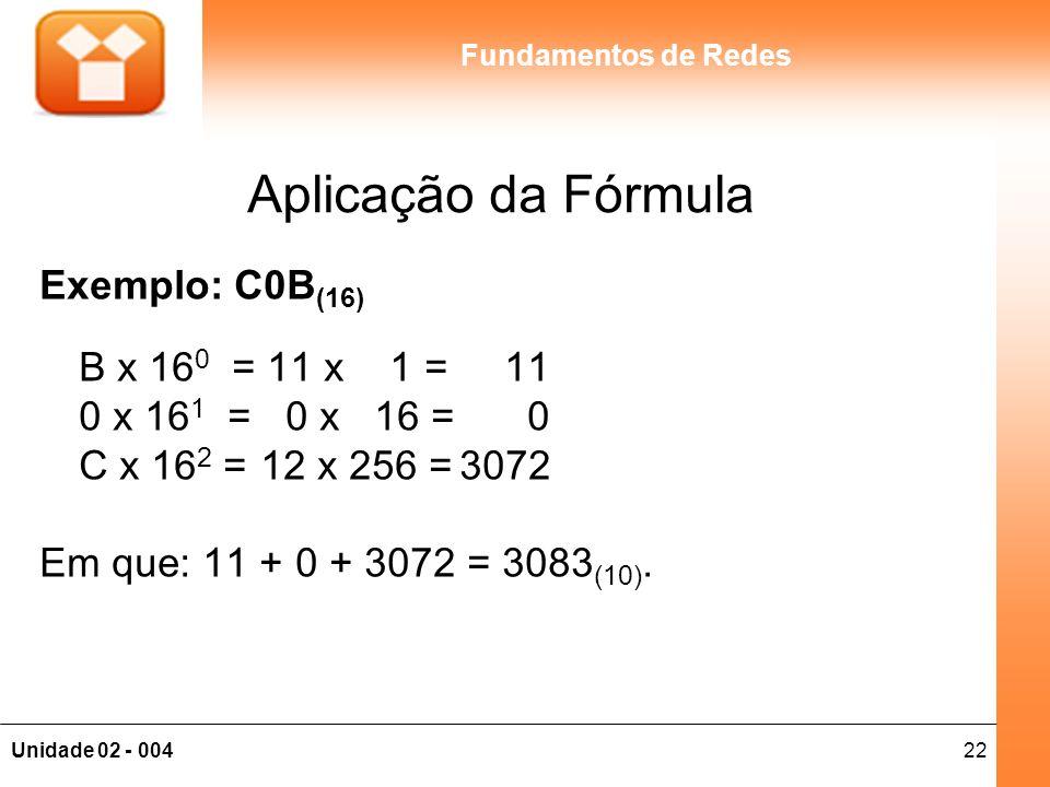 Aplicação da Fórmula Exemplo: C0B(16) B x 160 = 11 x 1 = 11 0 x 161 = 0 x 16 = 0 C x 162 = 12 x 256 = 3072.