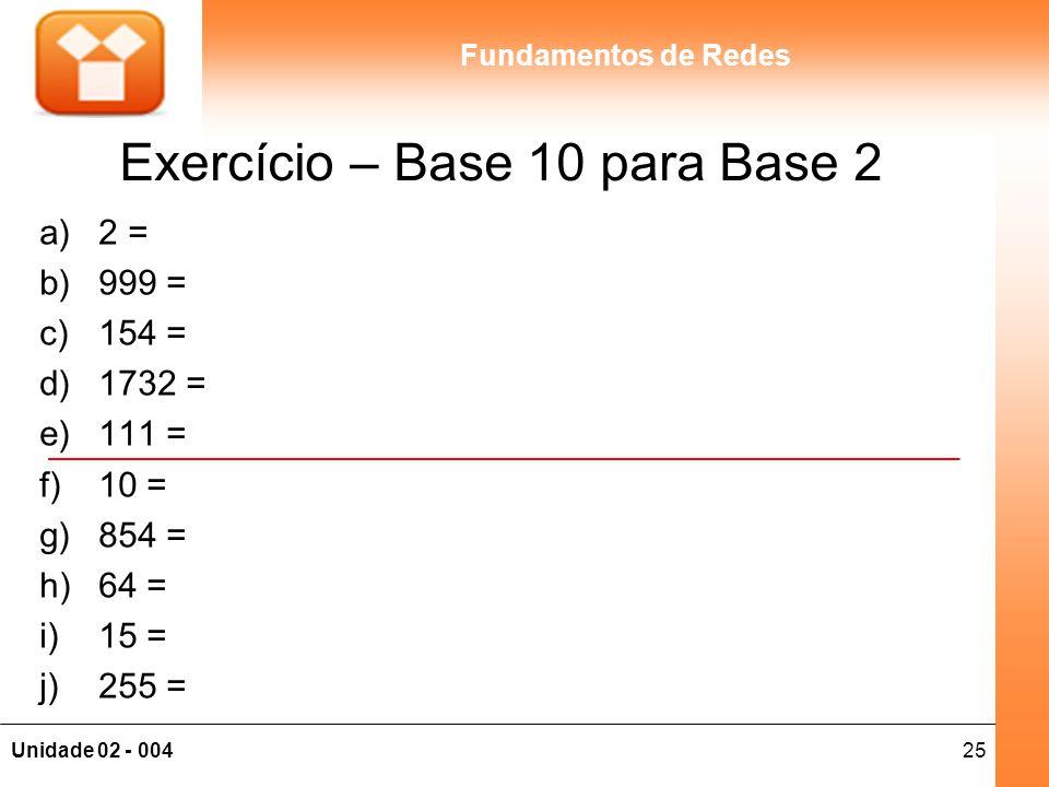 Exercício – Base 10 para Base 2