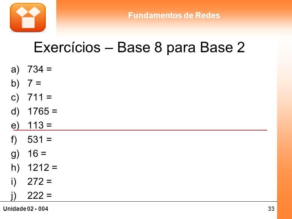 Exercícios – Base 8 para Base 2
