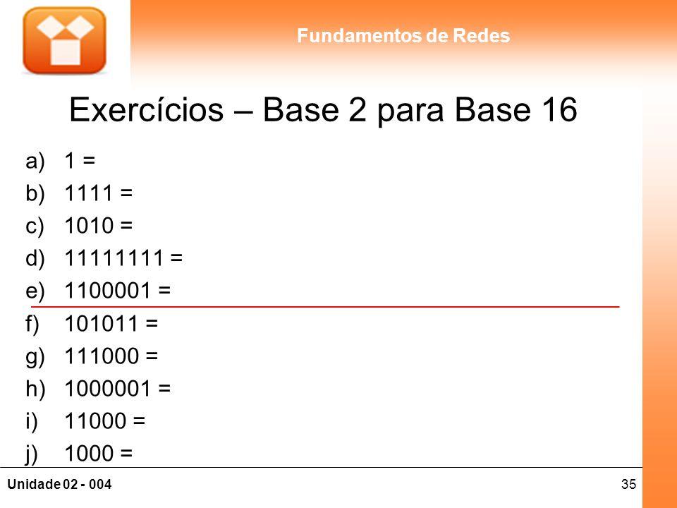 Exercícios – Base 2 para Base 16