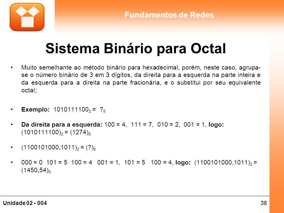 Sistema Binário para Octal