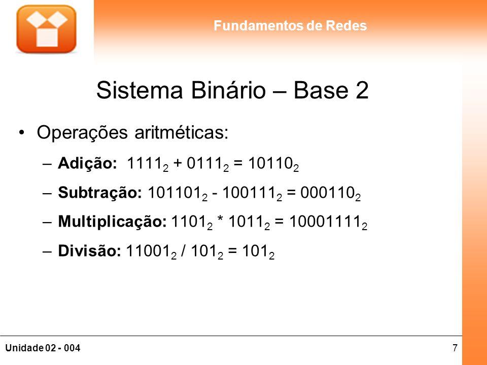 Sistema Binário – Base 2 Operações aritméticas: