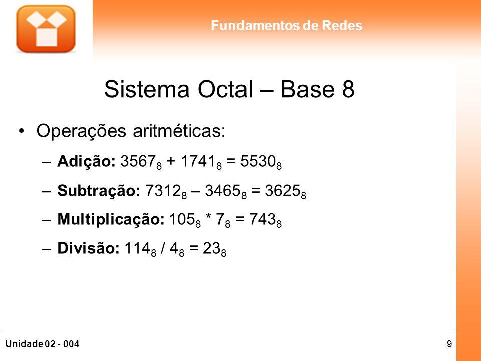 Sistema Octal – Base 8 Operações aritméticas: