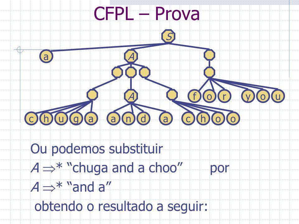 CFPL – Prova Ou podemos substituir A * chuga and a choo por