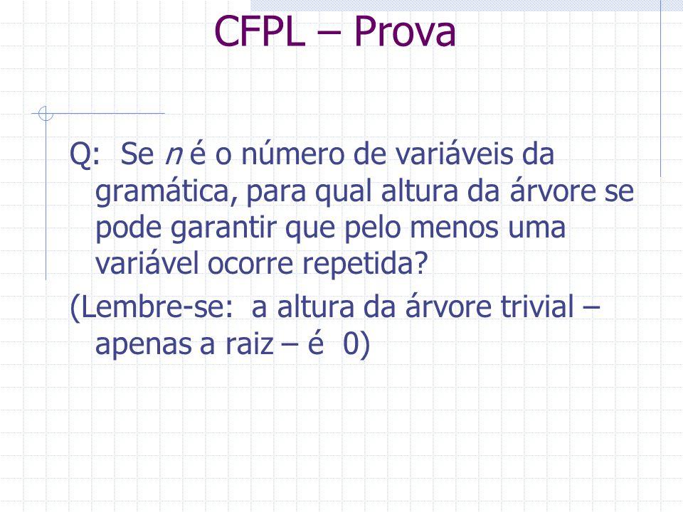 CFPL – Prova Q: Se n é o número de variáveis da gramática, para qual altura da árvore se pode garantir que pelo menos uma variável ocorre repetida