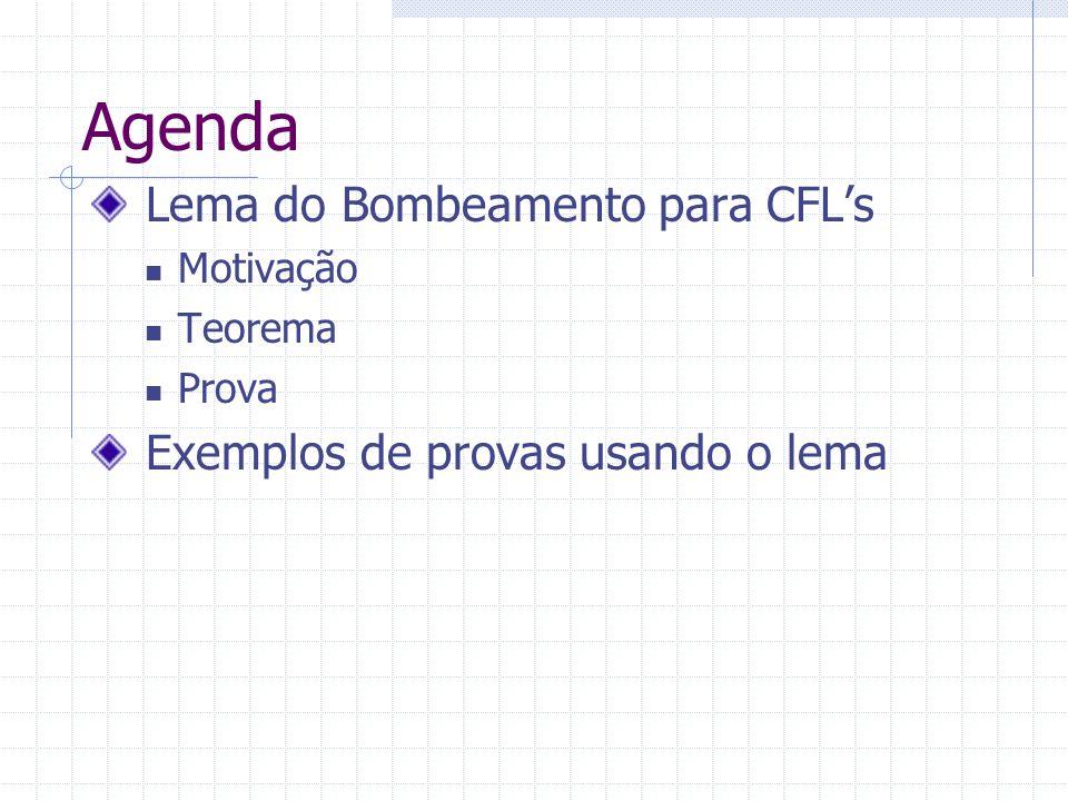 Agenda Lema do Bombeamento para CFL's Exemplos de provas usando o lema