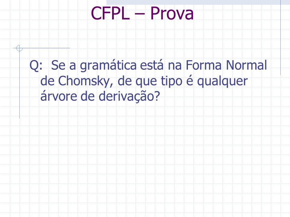 CFPL – Prova Q: Se a gramática está na Forma Normal de Chomsky, de que tipo é qualquer árvore de derivação