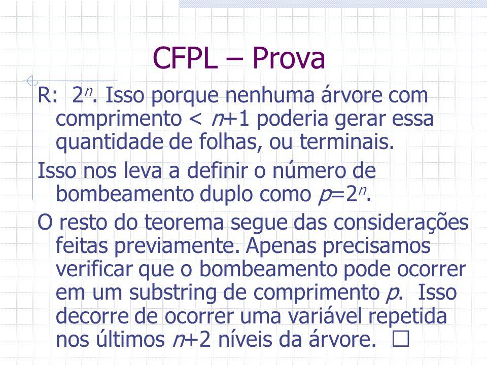 CFPL – Prova R: 2n. Isso porque nenhuma árvore com comprimento < n+1 poderia gerar essa quantidade de folhas, ou terminais.