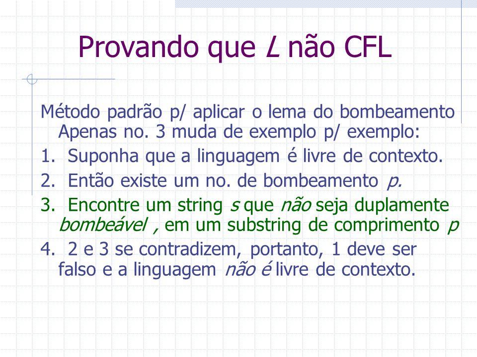 Provando que L não CFL Método padrão p/ aplicar o lema do bombeamento Apenas no. 3 muda de exemplo p/ exemplo: