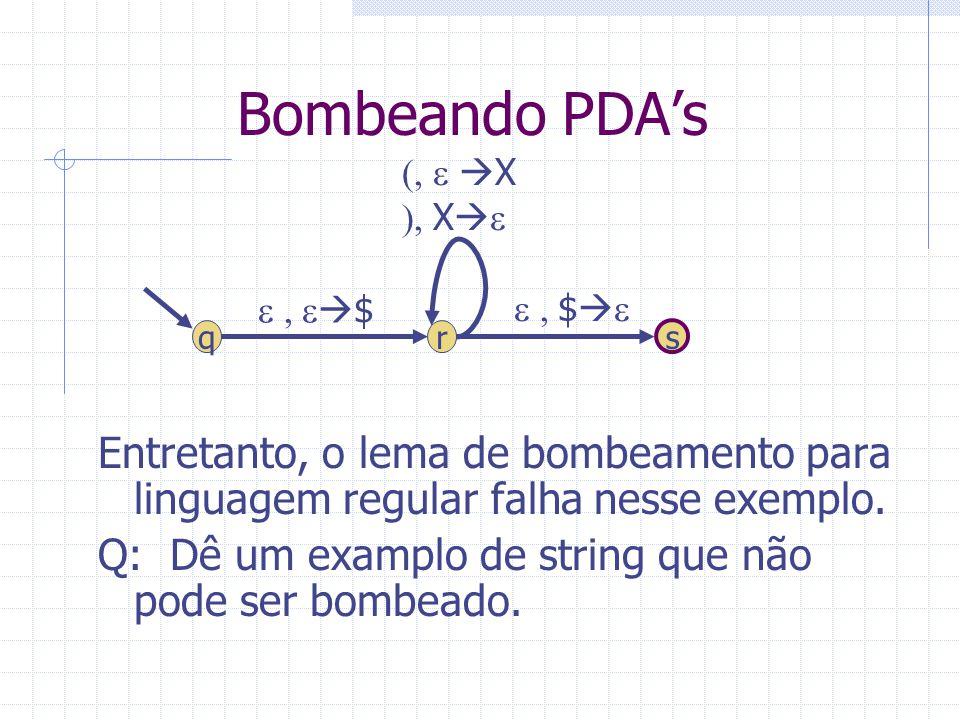 Bombeando PDA's (, e X. ), Xe. Entretanto, o lema de bombeamento para linguagem regular falha nesse exemplo.
