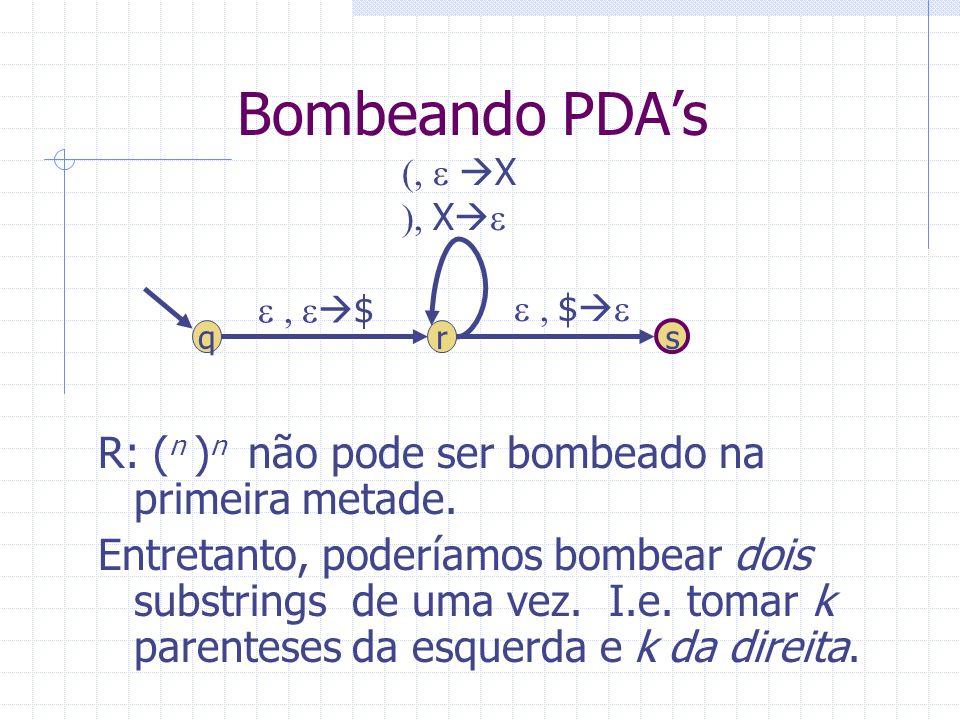 Bombeando PDA's R: (n )n não pode ser bombeado na primeira metade.