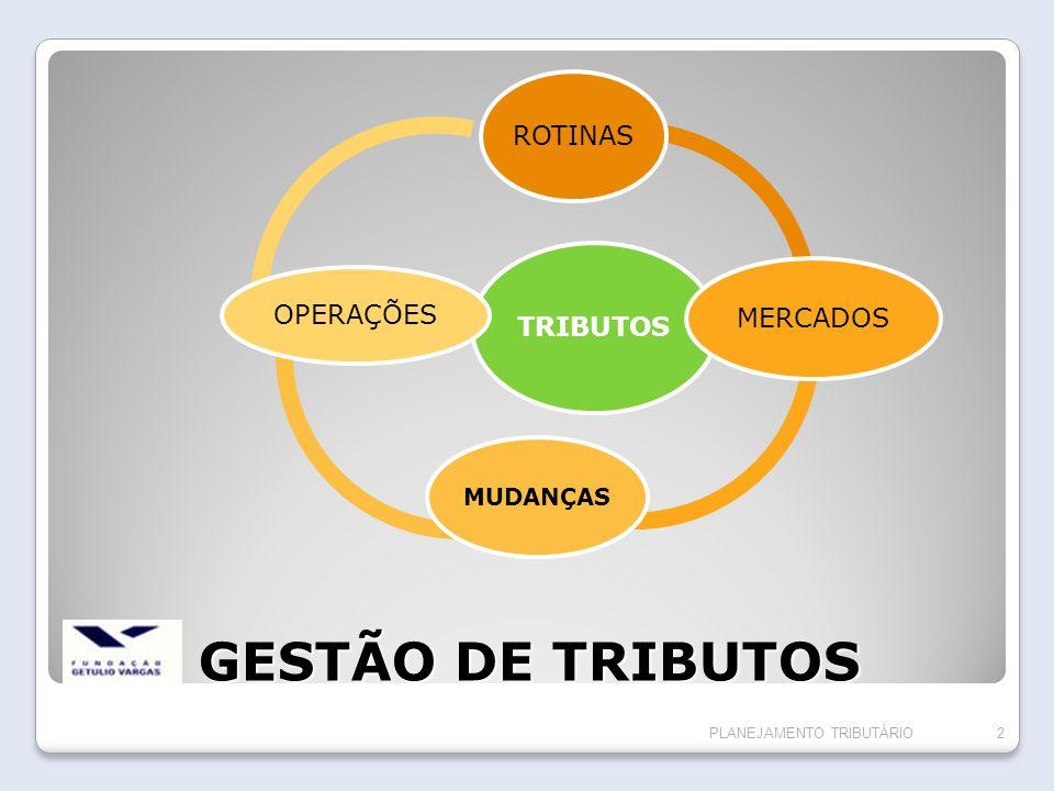 GESTÃO DE TRIBUTOS ROTINAS TRIBUTOS OPERAÇÕES MERCADOS MUDANÇAS