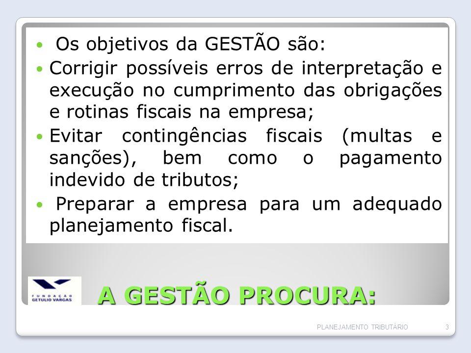 A GESTÃO PROCURA: Os objetivos da GESTÃO são: