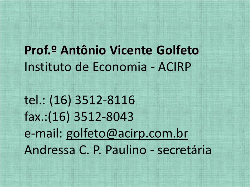 Prof.º Antônio Vicente Golfeto