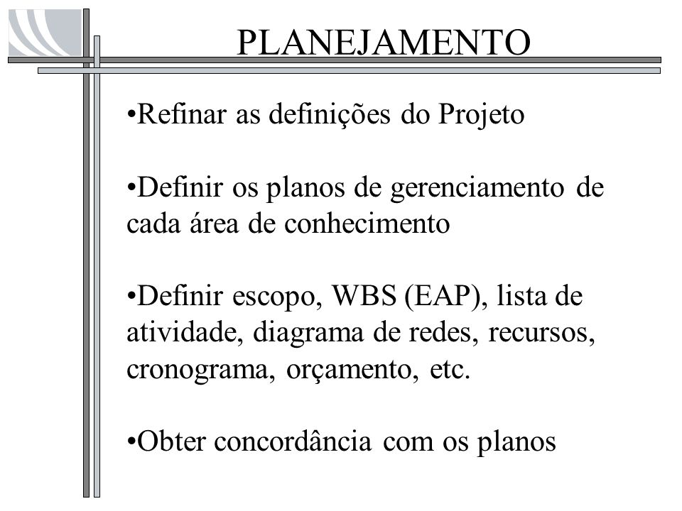 PLANEJAMENTO Refinar as definições do Projeto