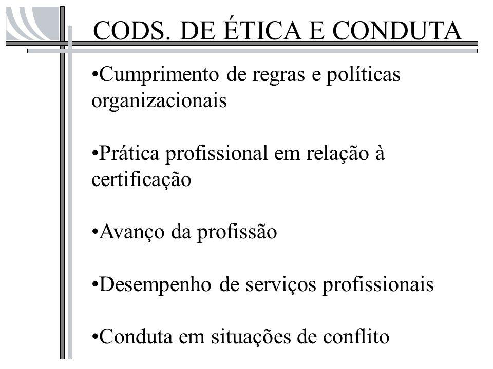 CODS. DE ÉTICA E CONDUTA Cumprimento de regras e políticas organizacionais. Prática profissional em relação à certificação.