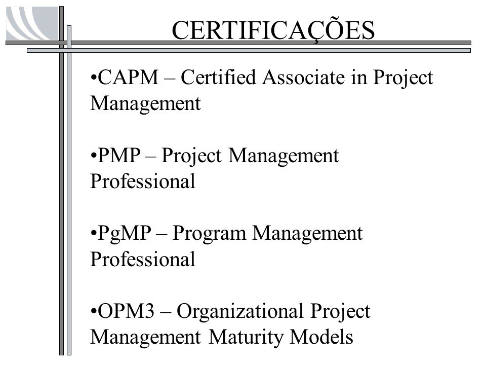 CERTIFICAÇÕES CAPM – Certified Associate in Project Management