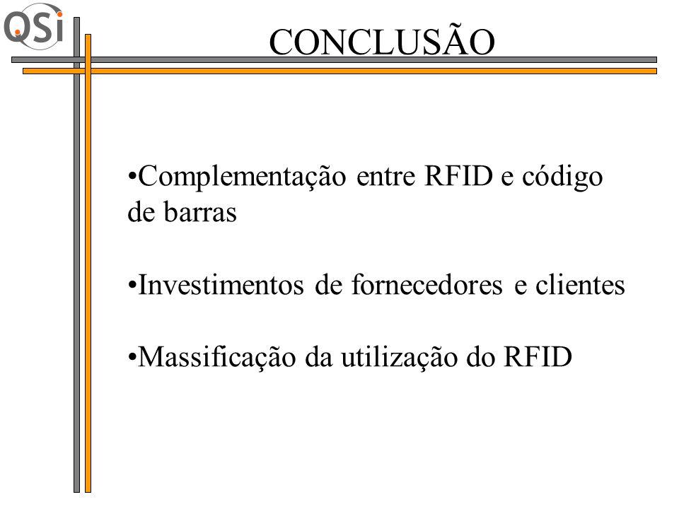 CONCLUSÃO Complementação entre RFID e código de barras