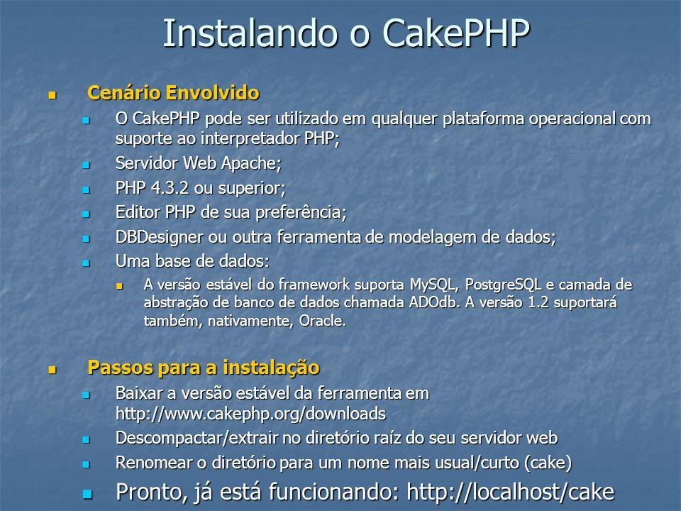 Instalando o CakePHP Cenário Envolvido. O CakePHP pode ser utilizado em qualquer plataforma operacional com suporte ao interpretador PHP;