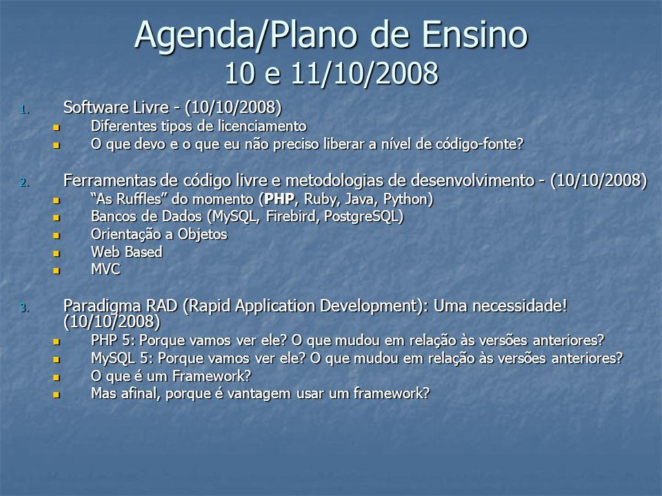 Agenda/Plano de Ensino 10 e 11/10/2008