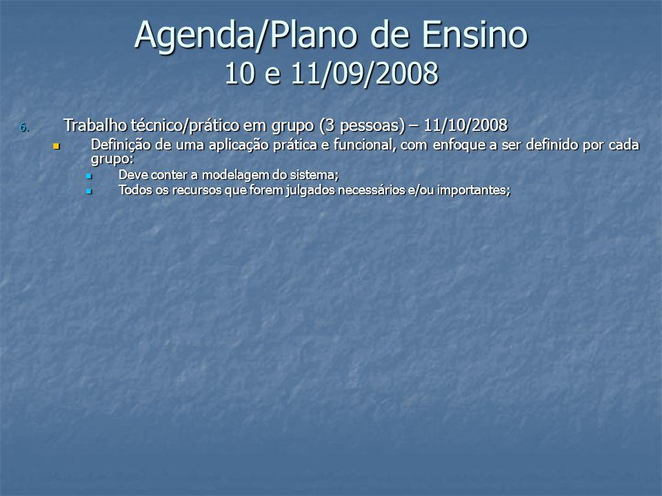 Agenda/Plano de Ensino 10 e 11/09/2008