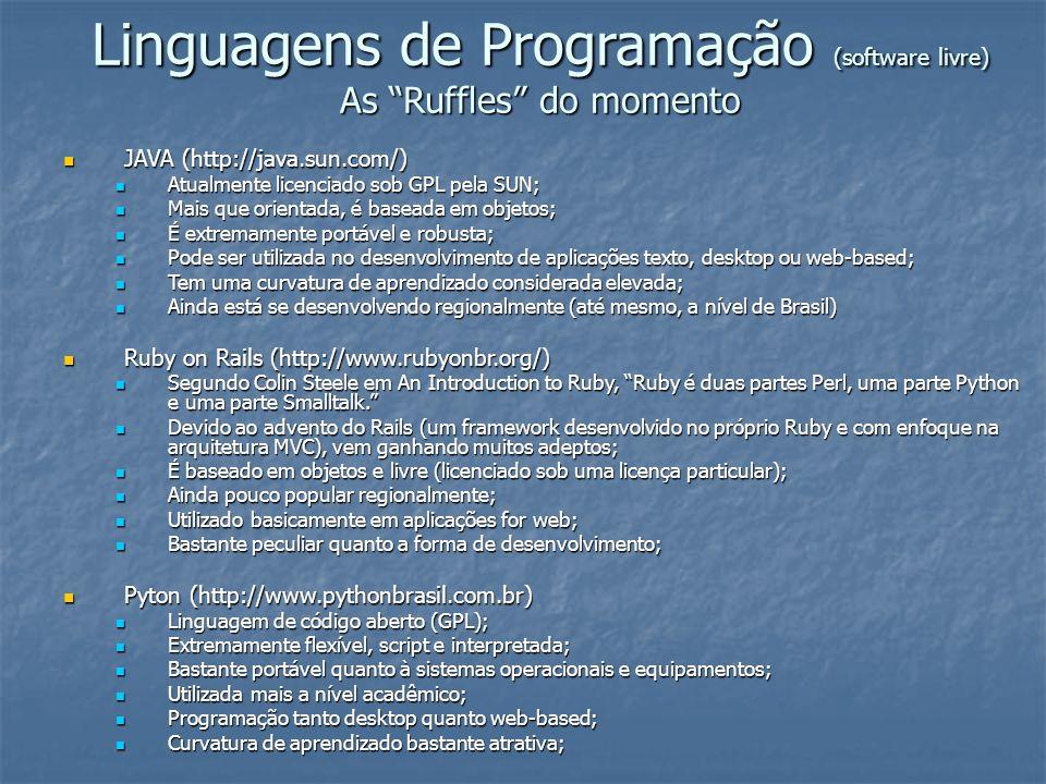 Linguagens de Programação (software livre) As Ruffles do momento