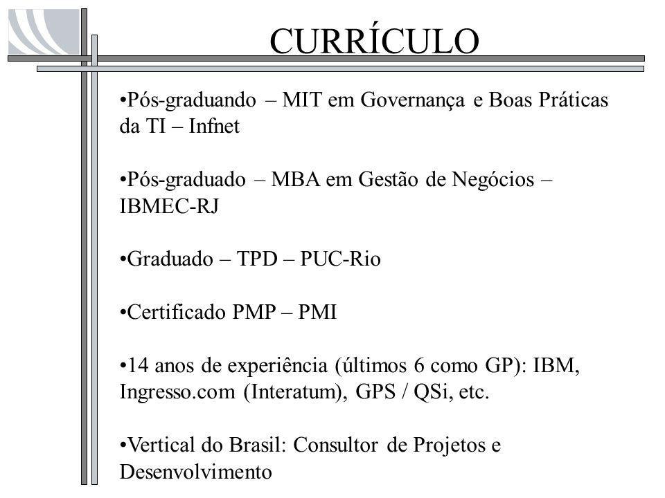 CURRÍCULO Pós-graduando – MIT em Governança e Boas Práticas da TI – Infnet. Pós-graduado – MBA em Gestão de Negócios – IBMEC-RJ.