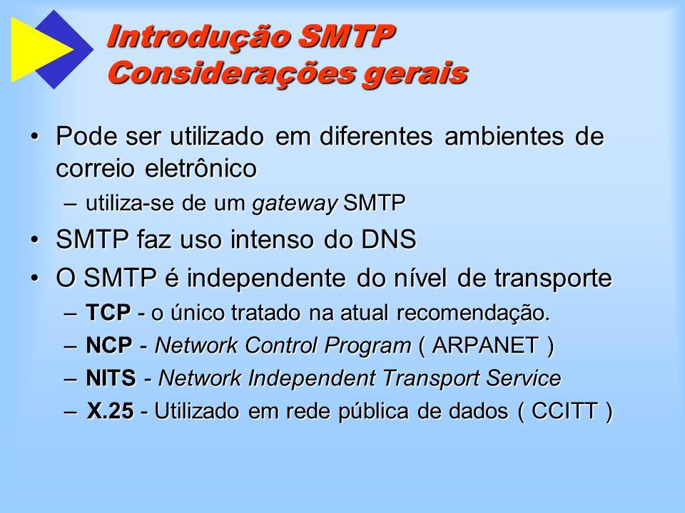 Introdução SMTP Considerações gerais