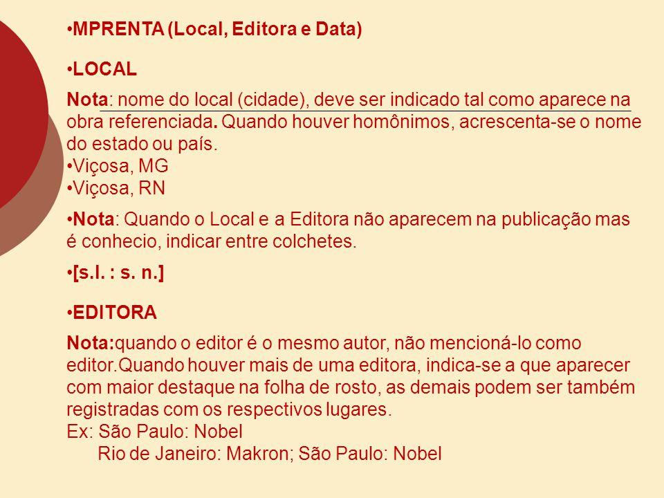 MPRENTA (Local, Editora e Data)