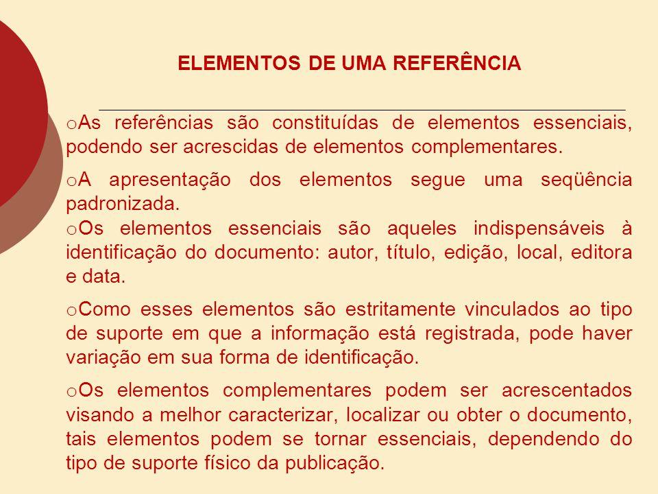 ELEMENTOS DE UMA REFERÊNCIA
