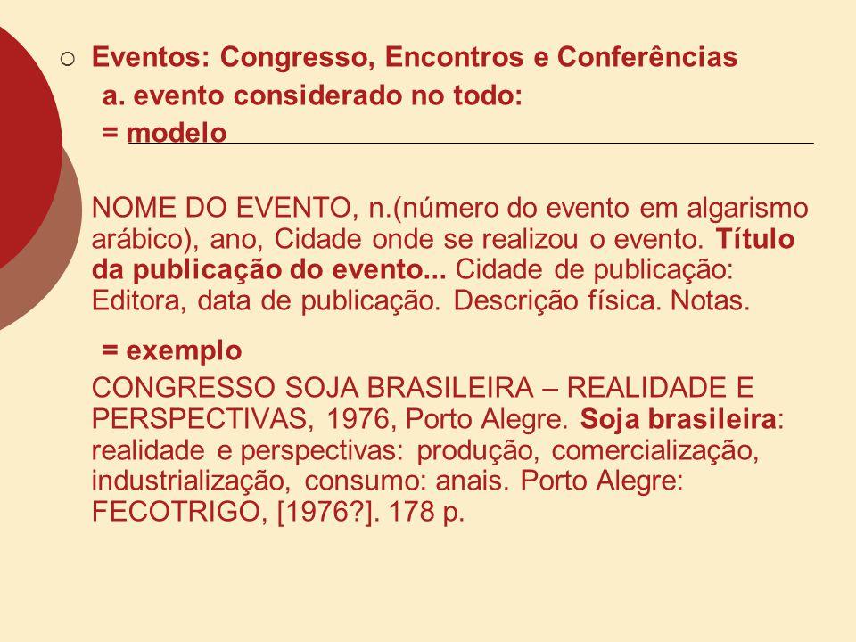 Eventos: Congresso, Encontros e Conferências