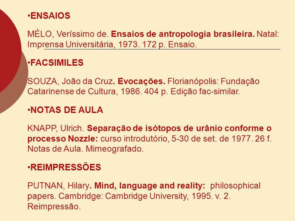 ENSAIOS FACSIMILES NOTAS DE AULA REIMPRESSÕES