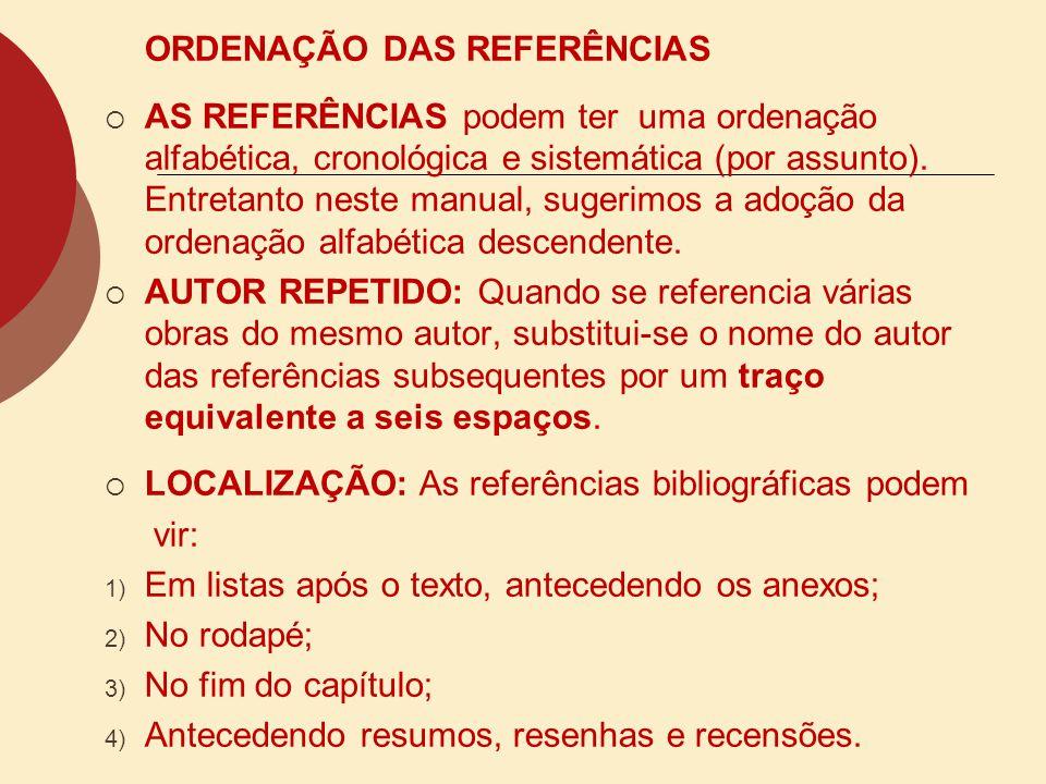 ORDENAÇÃO DAS REFERÊNCIAS