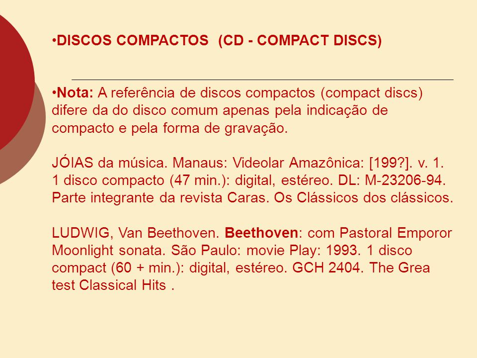 DISCOS COMPACTOS (CD - COMPACT DISCS)