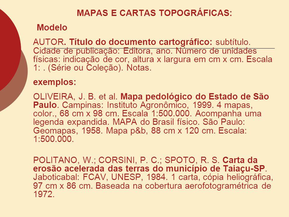 MAPAS E CARTAS TOPOGRÁFICAS: